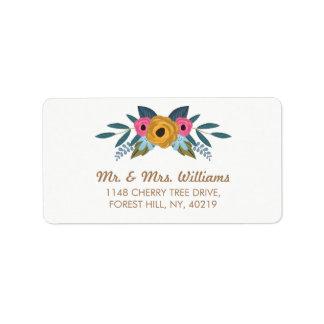 La collection blanche de mariage de guirlande étiquette d'adresse