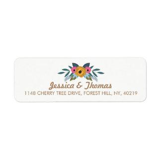 La collection blanche de mariage de guirlande étiquette d'adresse retour
