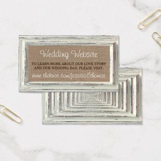 La collection blanche rustique de mariage de cadre cartes de visite