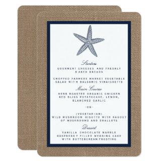 La collection de mariage de plage de toile de jute carton d'invitation  11,43 cm x 15,87 cm