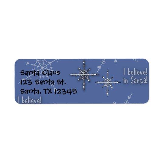 La collection de Noël croient Père Noël Étiquette D'adresse Retour