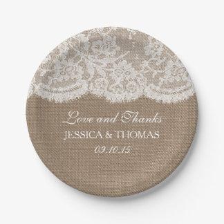 La collection de toile de jute et de mariage de assiettes en papier