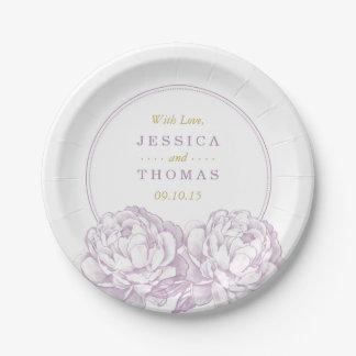 La collection florale de mariage de jolie pivoine assiettes en papier