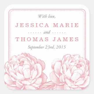 La collection florale de mariage de jolie pivoine sticker carré