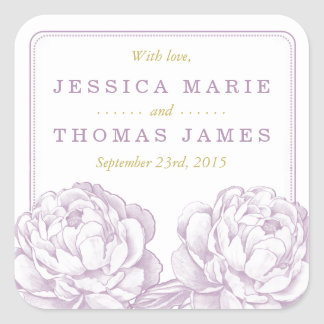 La collection florale de mariage de jolie pivoine sticker carré