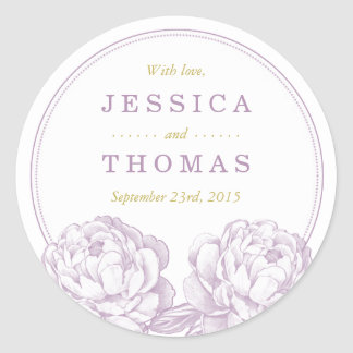 La collection florale de mariage de jolie pivoine sticker rond
