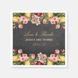 La collection florale vintage de mariage de serviettes jetables