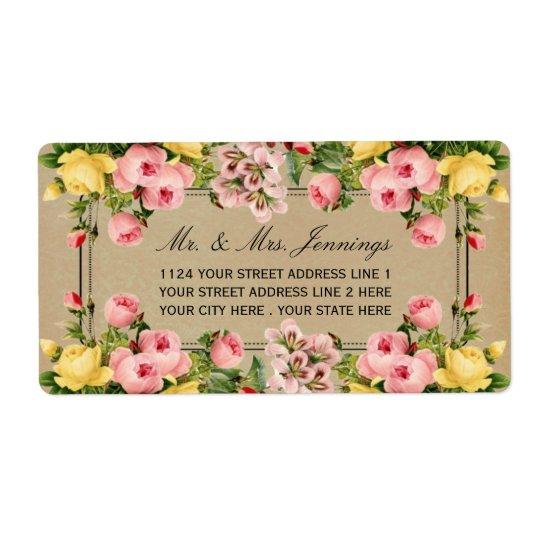 La collection florale vintage élégante de mariage étiquette d'expédition