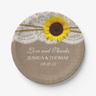 La collection rustique de mariage de tournesol assiettes en papier