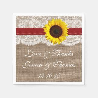 La collection rustique de mariage de tournesol - serviette en papier