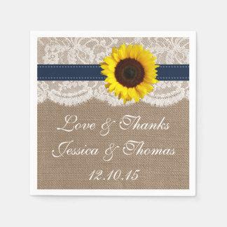 La collection rustique de mariage de tournesol - serviettes en papier