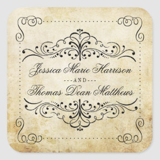 La collection vintage de mariage de Flourish Sticker Carré