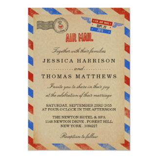 La collection vintage de mariage de par avion carton d'invitation  12,7 cm x 17,78 cm