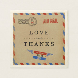 La collection vintage de mariage de par avion serviette en papier
