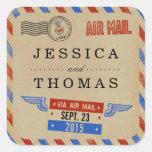 La collection vintage de mariage de par avion sticker carré