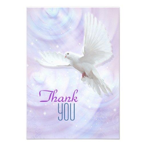 La colombe religieuse de confirmation vous remerci bristols personnalisés