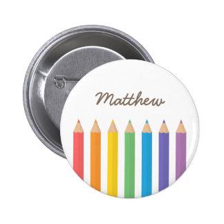 La coloration colorée d'arc-en-ciel crayonne des badge
