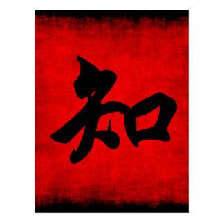 La connaissance dans la calligraphie chinoise carte postale