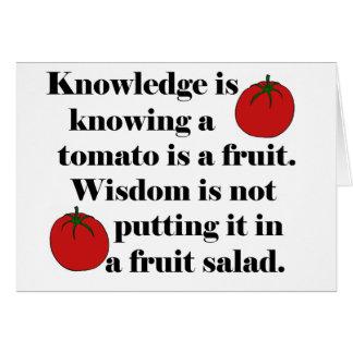 La connaissance sait qu'une tomate est un fruit carte de vœux