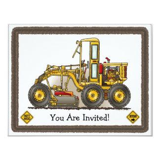 La construction de niveleuse de route badine carton d'invitation 10,79 cm x 13,97 cm