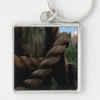 La corde du marin porte-clé carré argenté