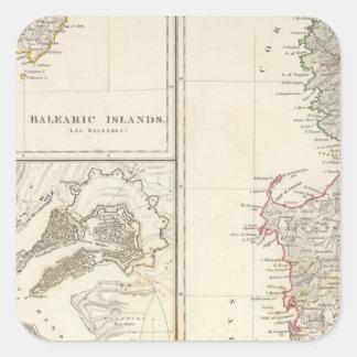 La Corse, Sardaigne, Îles Baléares, La Valette Stickers Carrés
