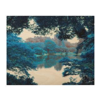 La couleur bleue a effectué la nature fraîche et impression sur bois