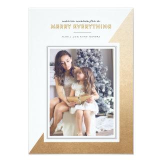 La couleur moderne d'or a bloqué le carte photo de carton d'invitation  12,7 cm x 17,78 cm