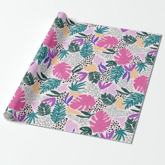 La coupe forme l'enveloppe de cadeau tropicale de papier cadeau