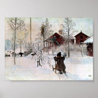 La cour et la Chambre de lavage dans la neige Affiche