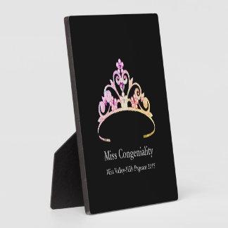 La couronne rose multi de diadème de Mlle Amérique Plaque Photo