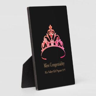 La couronne rose orange de diadème de Mlle Plaque Photo