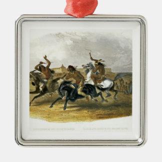 La course de chevaux des Indiens de Sioux Ornement Carré Argenté