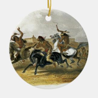 La course de chevaux des Indiens de Sioux Ornement Rond En Céramique