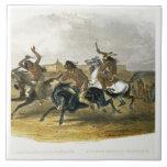 La course de chevaux des Indiens de Sioux s'approc Carreaux En Céramique