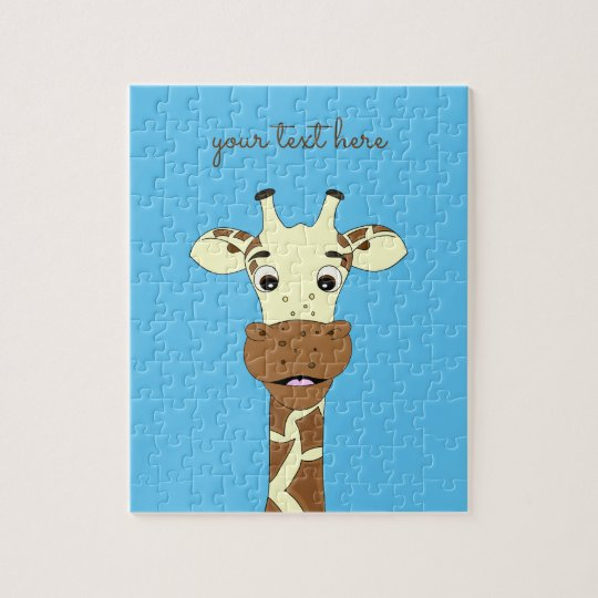La coutume bleue de bande dessinée drôle de girafe puzzle