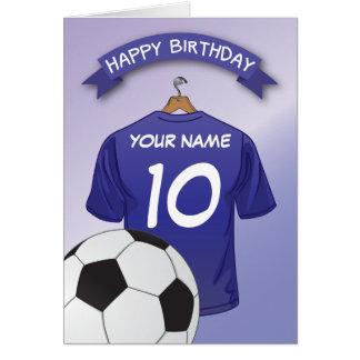 La coutume bleue de chemise du football du carte de vœux