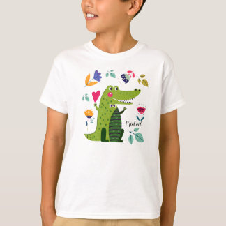 La coutume drôle de crocodile badine le T-shirts