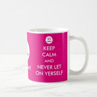 La coutume gardent le calme et non jamais mug