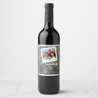 La coutume ont Noël gai de houx sur le tableau Étiquette Pour Bouteilles De Vin