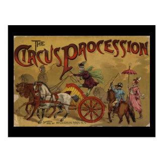 La couverture arrière de cortège de cirque cartes postales