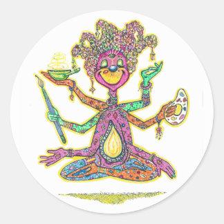 La créativité est personnifiée dans cette image de sticker rond