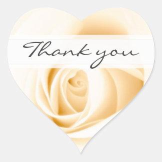 La crème le mariage que rose vous remercient autocollants en cœur
