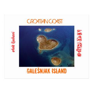 La Croatie - île en forme de coeur Galešnjak Cartes Postales