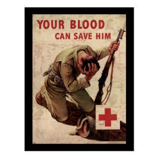 La Croix-Rouge votre sang peut le sauver Carte Postale
