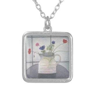 La cruche 2008 d'anémones et de pavots fleurit pendentif carré