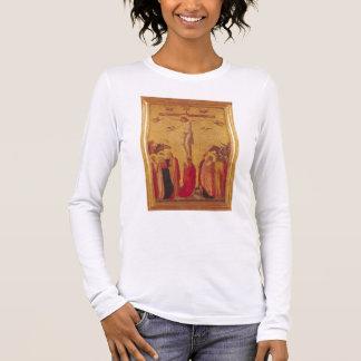 La crucifixion (tempera sur le panneau) t-shirt à manches longues
