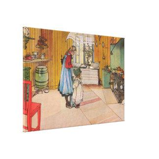 La cuisine par Carl Larsson Suède vintage 1898 Toiles