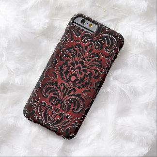 la damassé majestueuse de l'effet 3D rouge/noir se Coque Barely There iPhone 6