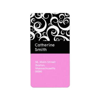 La damassé rose et noire tourbillonne des étiquett étiquette d'adresse